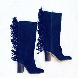Gianni Bini NWT $169 Suede Fringe Designer Boots